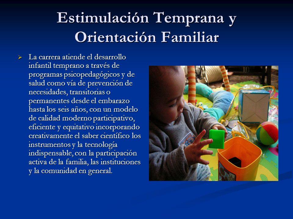 Estimulación Temprana y Orientación Familiar La carrera atiende el desarrollo infantil temprano a través de programas psicopedagógicos y de salud como