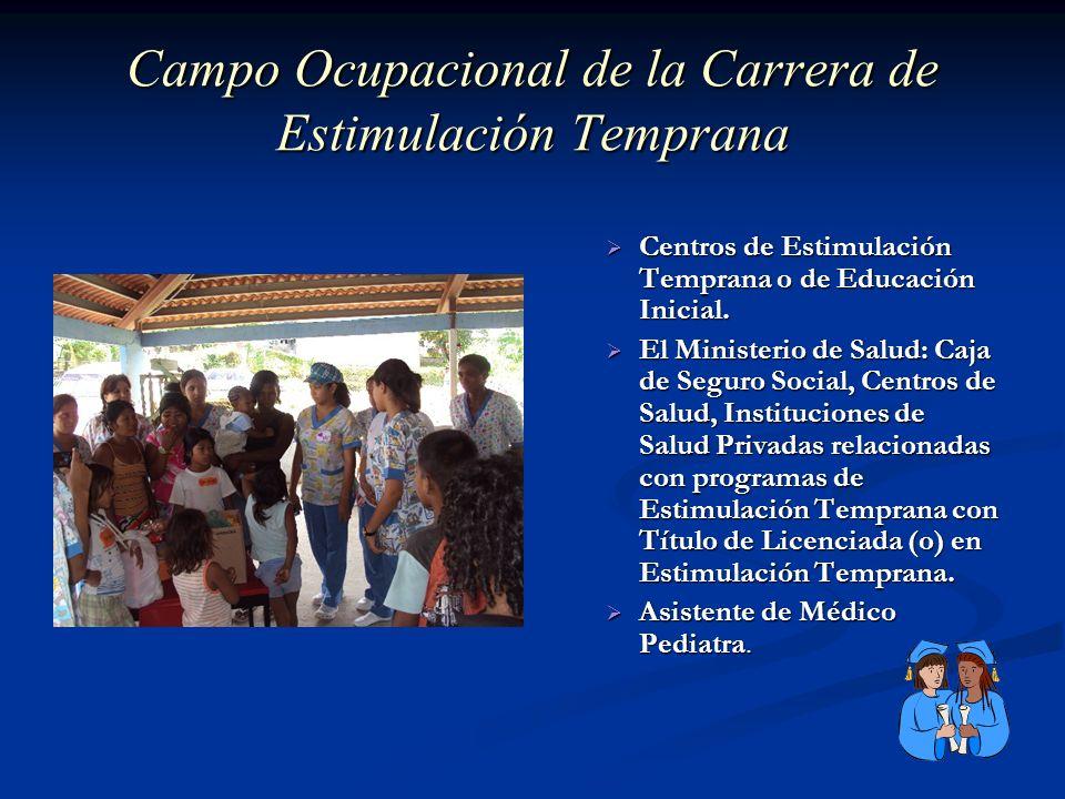 Campo Ocupacional de la Carrera de Estimulación Temprana Centros de Estimulación Temprana o de Educación Inicial. El Ministerio de Salud: Caja de Segu