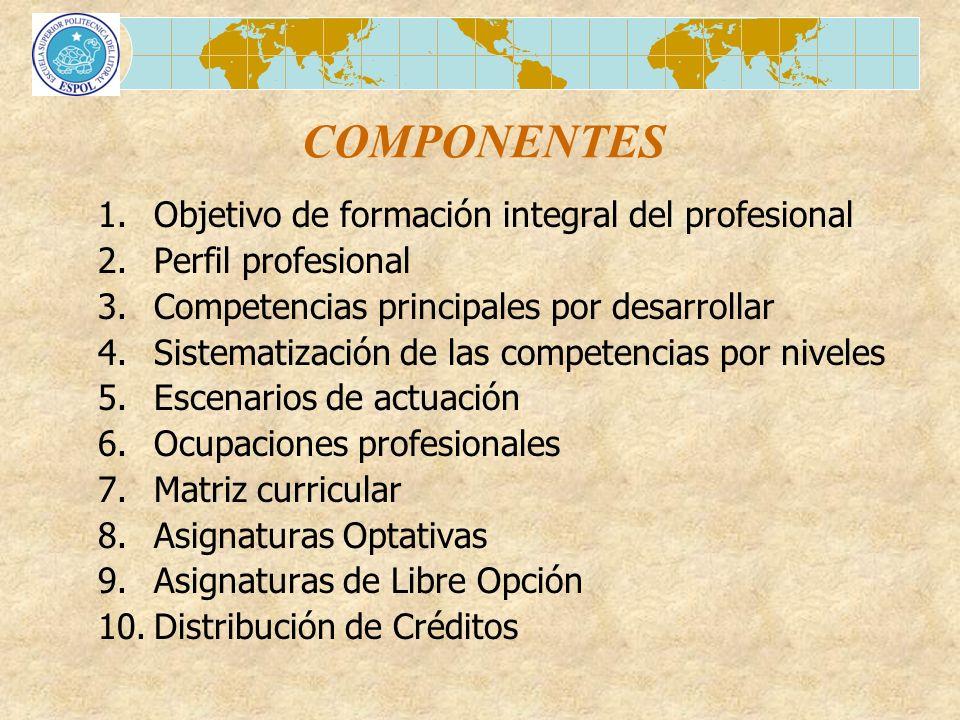 COMPONENTES 1.Objetivo de formación integral del profesional 2.Perfil profesional 3.Competencias principales por desarrollar 4.Sistematización de las