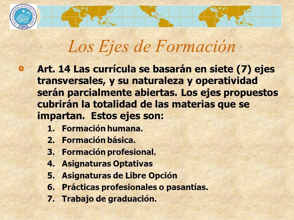 Art. 14 Las currícula se basarán en siete (7) ejes transversales, y su naturaleza y operatividad serán parcialmente abiertas. Los ejes propuestos cubr