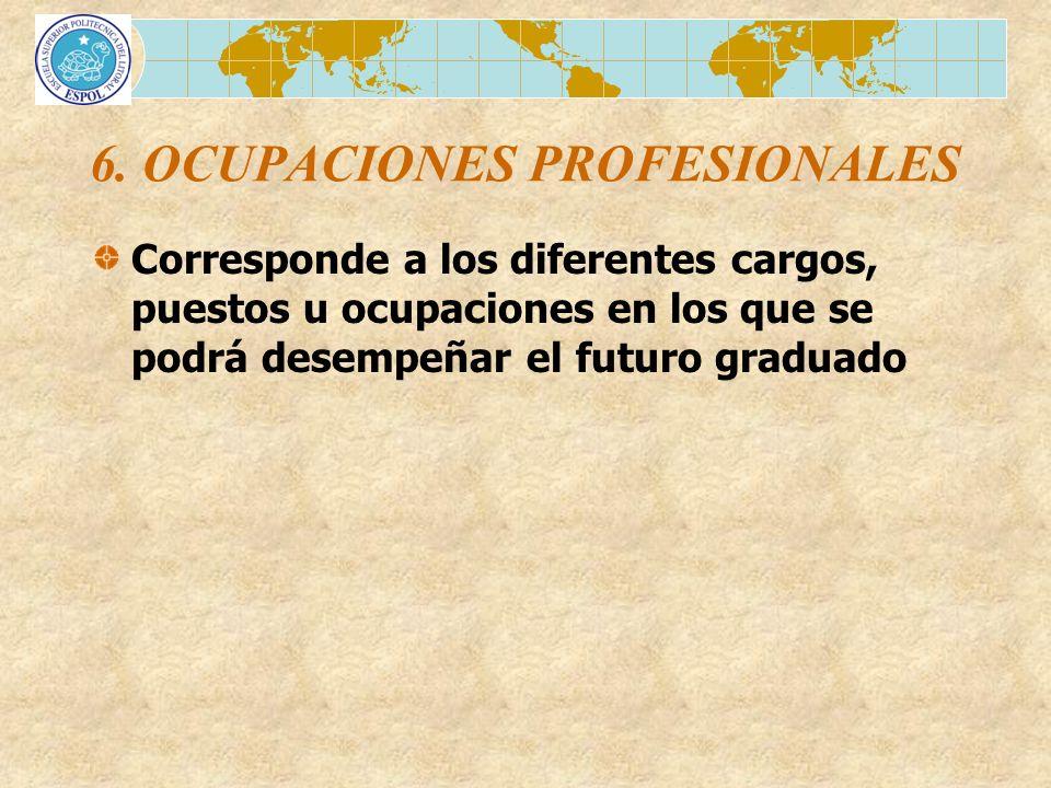 6. OCUPACIONES PROFESIONALES Corresponde a los diferentes cargos, puestos u ocupaciones en los que se podrá desempeñar el futuro graduado
