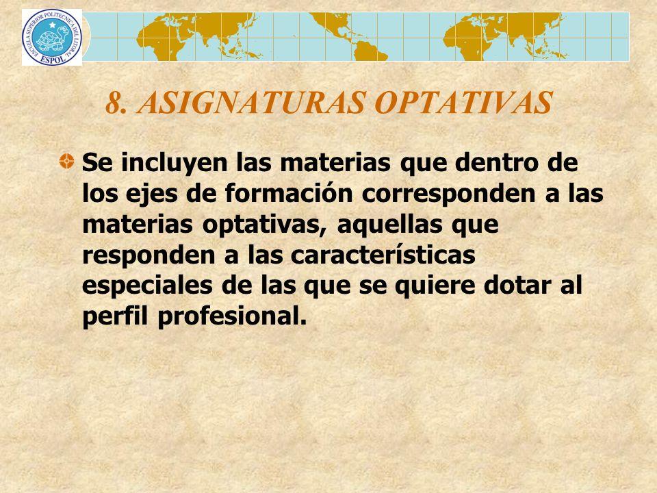 8. ASIGNATURAS OPTATIVAS Se incluyen las materias que dentro de los ejes de formación corresponden a las materias optativas, aquellas que responden a