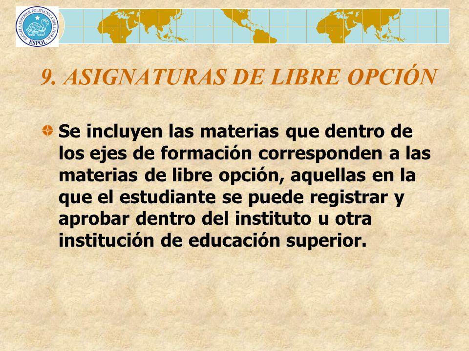 9. ASIGNATURAS DE LIBRE OPCIÓN Se incluyen las materias que dentro de los ejes de formación corresponden a las materias de libre opción, aquellas en l