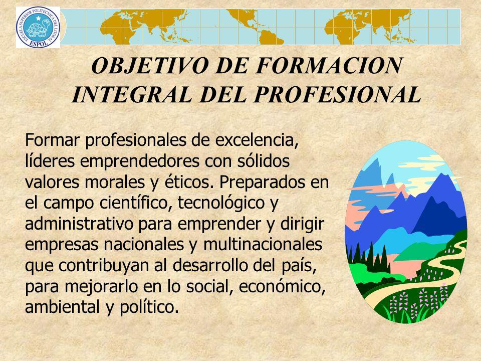 OBJETIVO DE FORMACION INTEGRAL DEL PROFESIONAL Formar profesionales de excelencia, líderes emprendedores con sólidos valores morales y éticos. Prepara