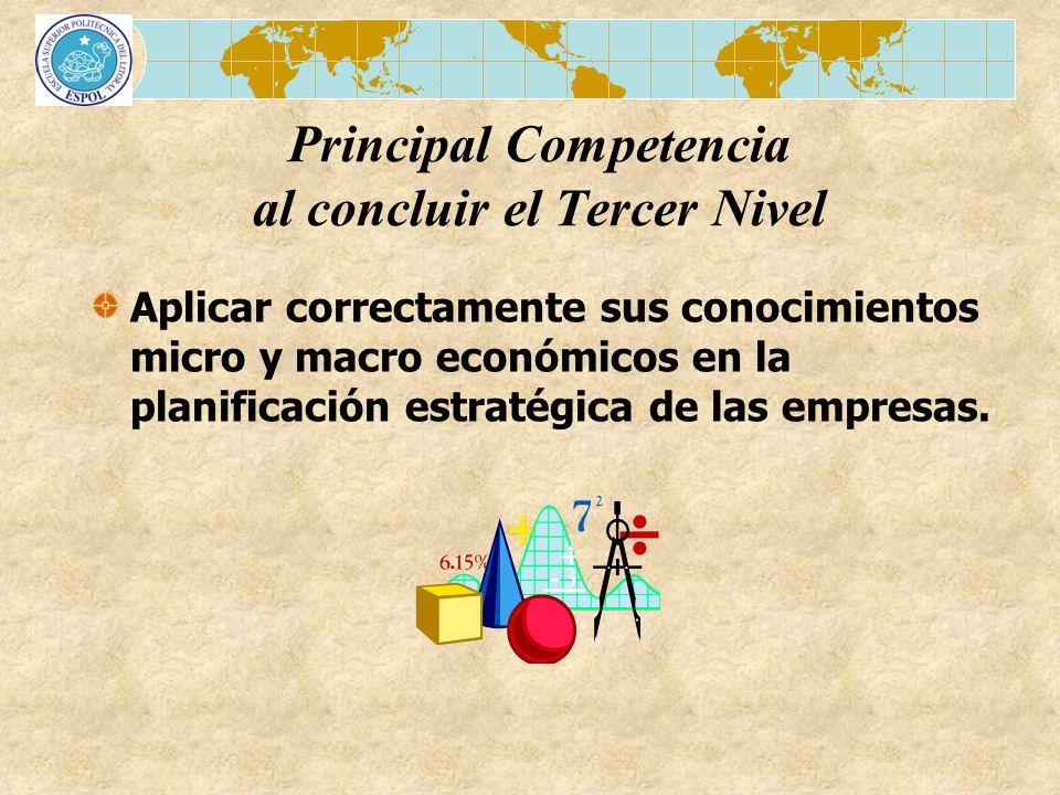 Aplicar correctamente sus conocimientos micro y macro económicos en la planificación estratégica de las empresas. Principal Competencia al concluir el