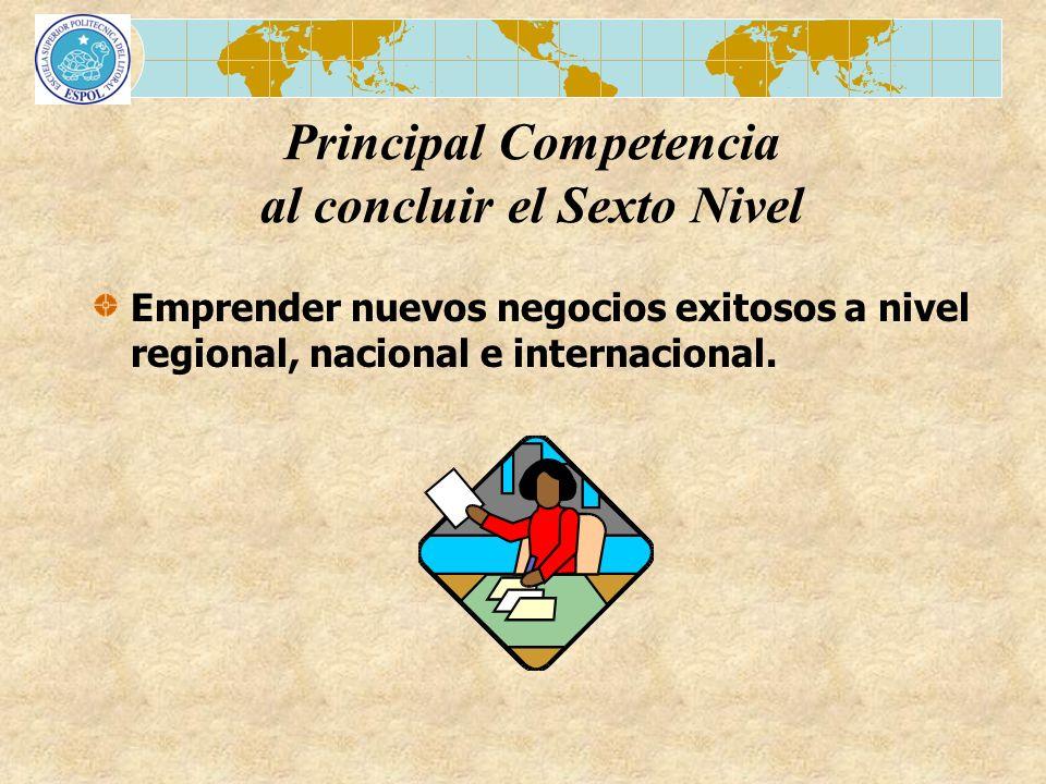 Emprender nuevos negocios exitosos a nivel regional, nacional e internacional. Principal Competencia al concluir el Sexto Nivel