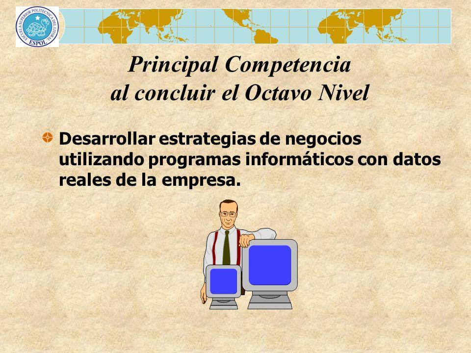 Desarrollar estrategias de negocios utilizando programas informáticos con datos reales de la empresa. Principal Competencia al concluir el Octavo Nive