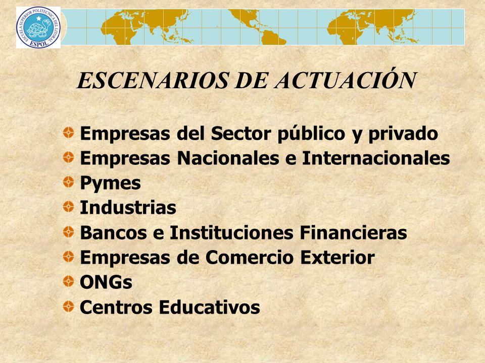 ESCENARIOS DE ACTUACIÓN Empresas del Sector público y privado Empresas Nacionales e Internacionales Pymes Industrias Bancos e Instituciones Financiera