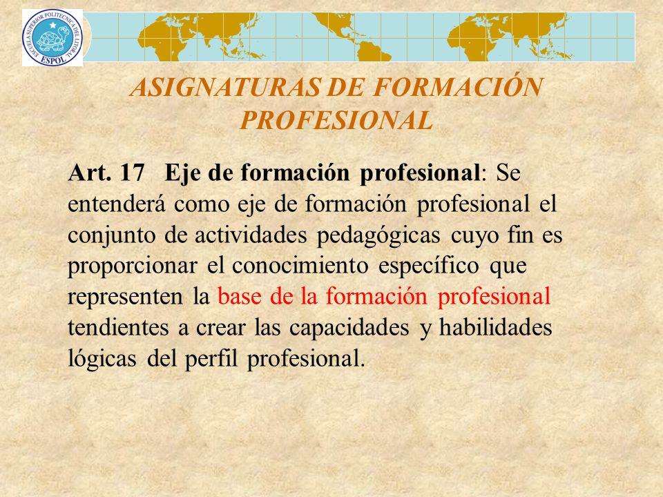 ASIGNATURAS DE FORMACIÓN PROFESIONAL Art. 17 Eje de formación profesional: Se entenderá como eje de formación profesional el conjunto de actividades p