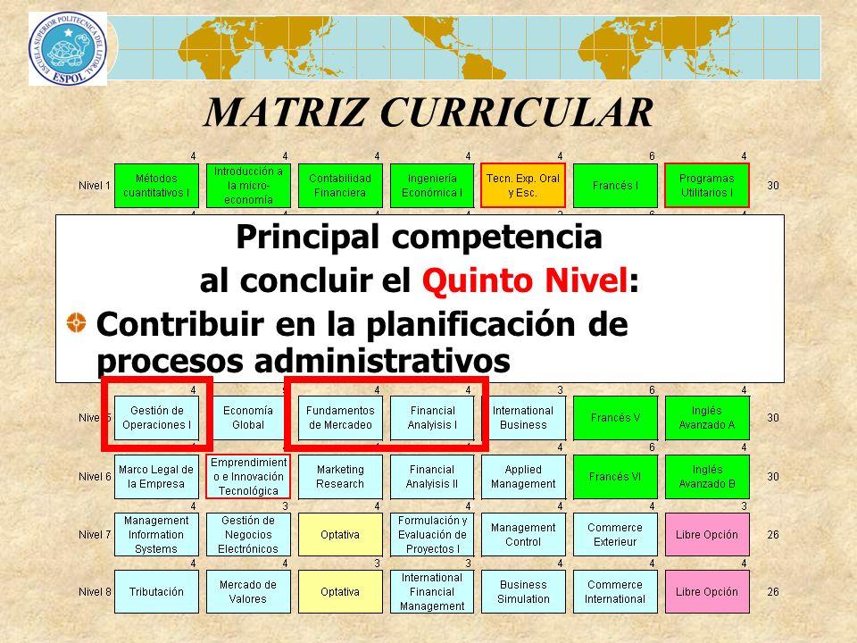 MATRIZ CURRICULAR Principal competencia al concluir el Quinto Nivel: Contribuir en la planificación de procesos administrativos