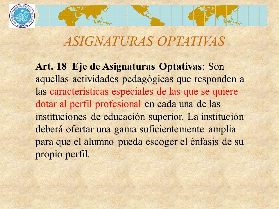 ASIGNATURAS OPTATIVAS Art. 18 Eje de Asignaturas Optativas: Son aquellas actividades pedagógicas que responden a las características especiales de las