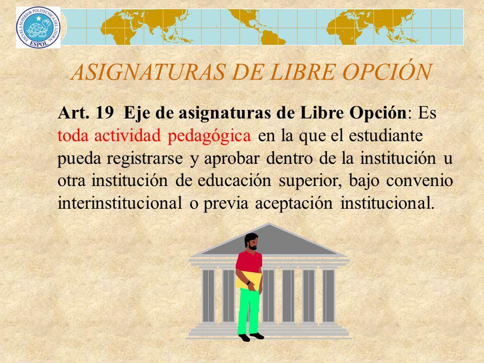 ASIGNATURAS DE LIBRE OPCIÓN Art. 19 Eje de asignaturas de Libre Opción: Es toda actividad pedagógica en la que el estudiante pueda registrarse y aprob