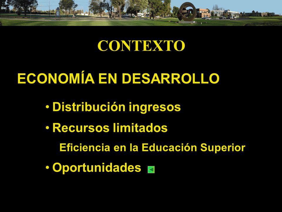 CONTEXTO ECONOMÍA EN DESARROLLO Distribución ingresos Recursos limitados Eficiencia en la Educación Superior Oportunidades