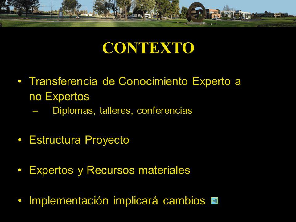 CONTEXTO Transferencia de Conocimiento Experto a no Expertos – Diplomas, talleres, conferencias Estructura Proyecto Expertos y Recursos materiales Imp