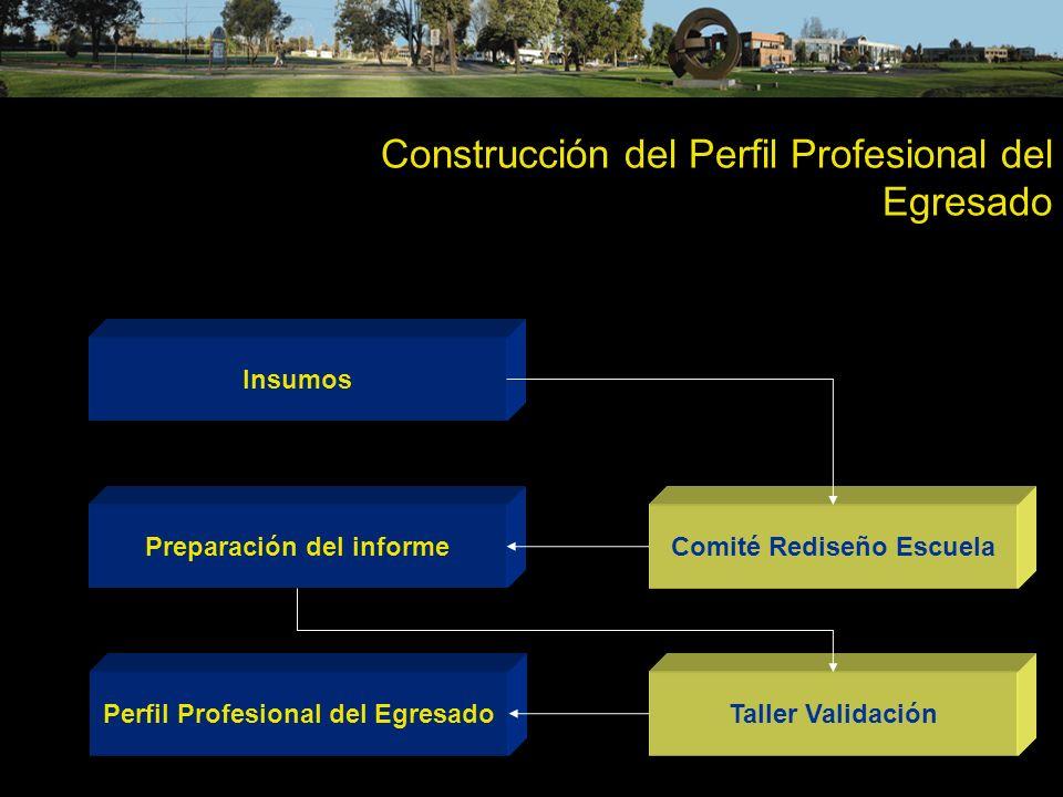 Construcción del Perfil Profesional del Egresado Insumos Preparación del informe Perfil Profesional del Egresado Comité Rediseño Escuela Taller Valida