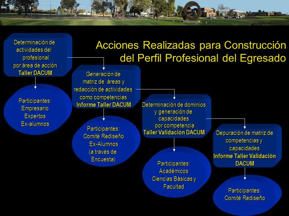 Acciones Realizadas para Construcción del Perfil Profesional del Egresado Determinación de actividades del profesional profesional por área de acción