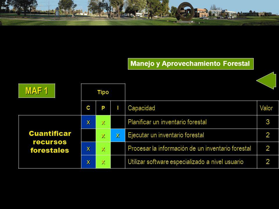 MAF 1 Tipo CPI CapacidadValor Cuantificar recursos forestalesxx Planificar un inventario forestal 3 xx Ejecutar un inventario forestal 2 xx Procesar l