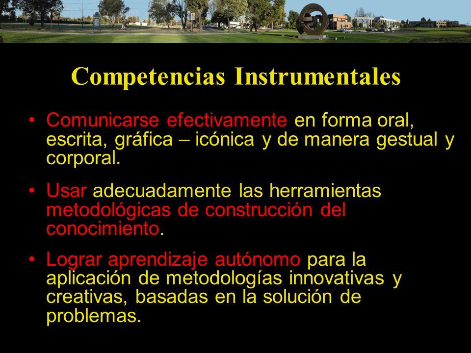 Competencias Instrumentales Comunicarse efectivamente en forma oral, escrita, gráfica – icónica y de manera gestual y corporal. Usar adecuadamente las