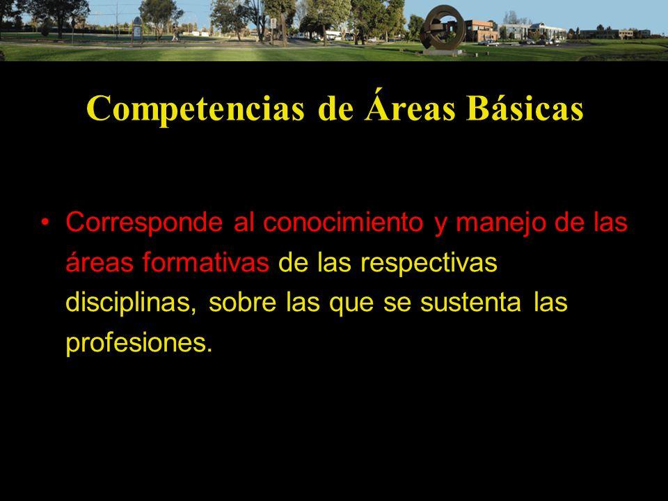 Competencias de Áreas Básicas Corresponde al conocimiento y manejo de las áreas formativas de las respectivas disciplinas, sobre las que se sustenta l