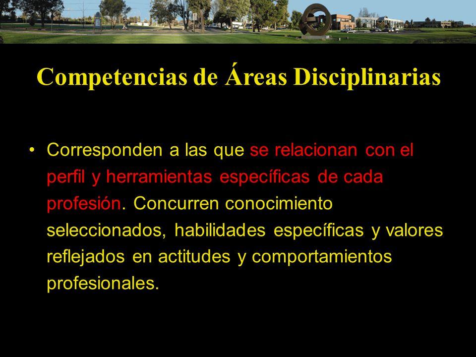 Competencias de Áreas Disciplinarias Corresponden a las que se relacionan con el perfil y herramientas específicas de cada profesión. Concurren conoci