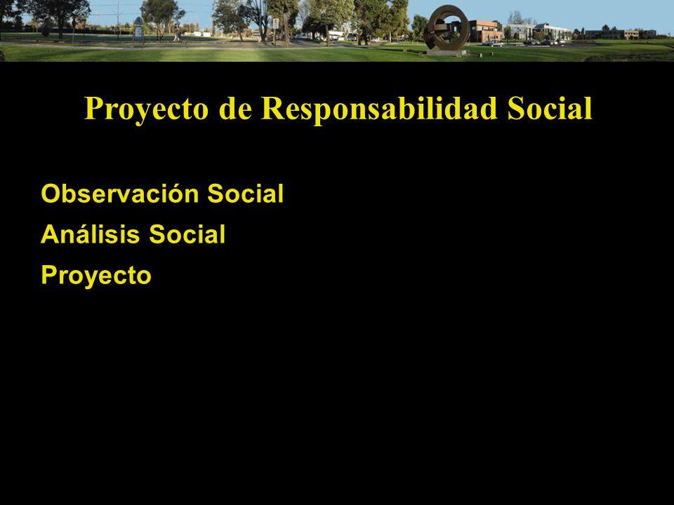 Proyecto de Responsabilidad Social Observación Social Análisis Social Proyecto