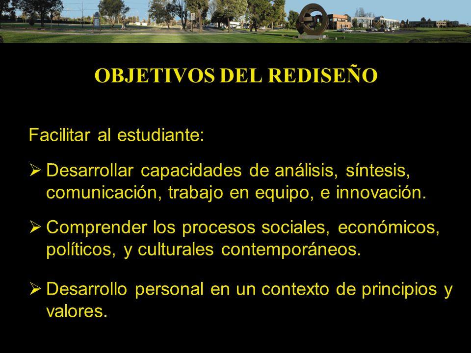 OBJETIVOS DEL REDISEÑO Vincular la formación al entorno social y cultural.