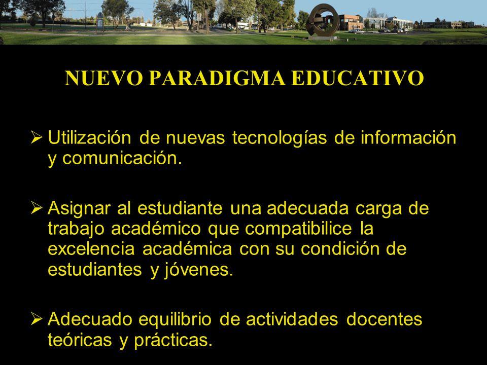 NUEVO PARADIGMA EDUCATIVO Utilización de nuevas tecnologías de información y comunicación. Asignar al estudiante una adecuada carga de trabajo académi