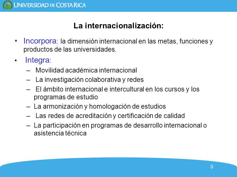 3 La internacionalización: Incorpora : la dimensión internacional en las metas, funciones y productos de las universidades.