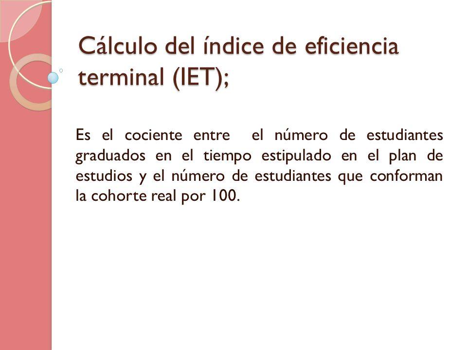 Cálculo del índice de eficiencia terminal (IET); Es el cociente entre el número de estudiantes graduados en el tiempo estipulado en el plan de estudio