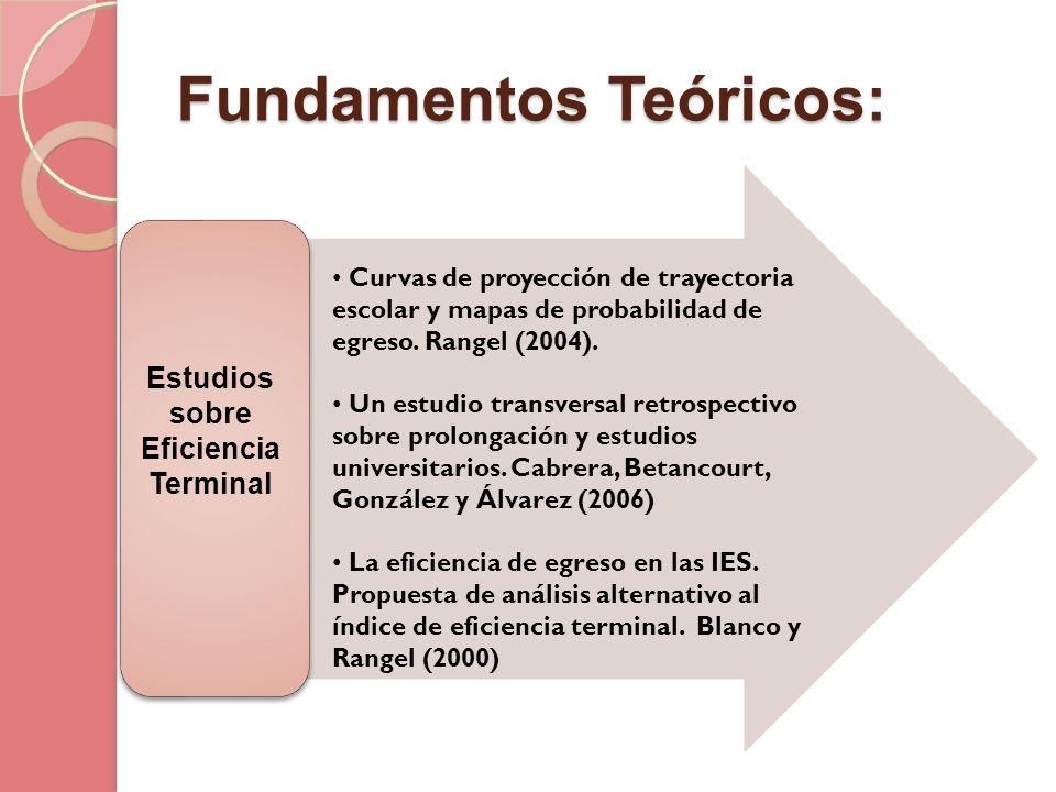 Fundamentos Teóricos: Estudios sobre Eficiencia Terminal Curvas de proyección de trayectoria escolar y mapas de probabilidad de egreso. Rangel (2004).