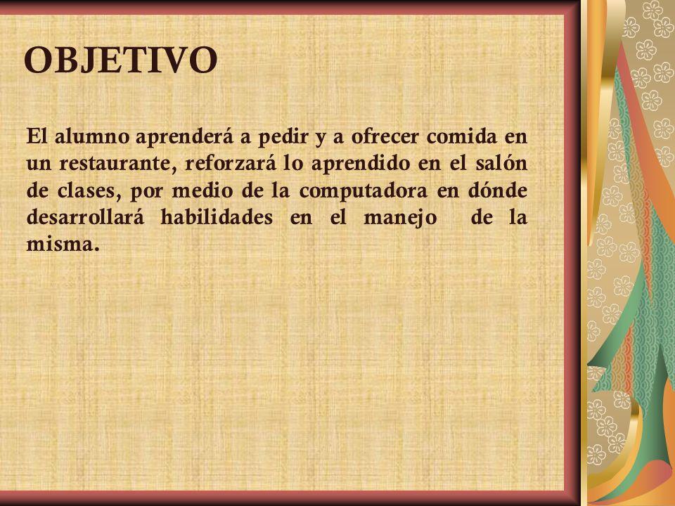 ESCUELA SECUNDARIA 230 JESÚS MASTACHE ROMAN TURNO VESPERTINO UNIDAD 2 PEDIR Y OFRECER COMIDA EN UN RESTAURANTE GRADE 3° D CICLE 2003-2004