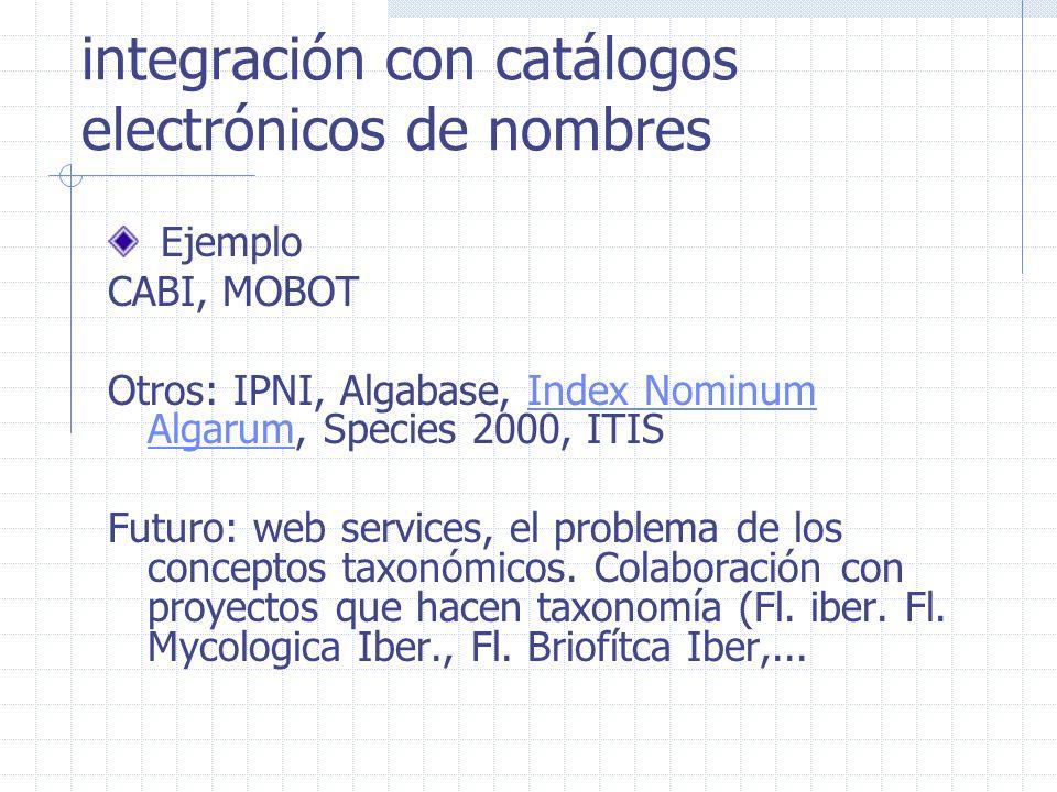 integración con catálogos electrónicos de nombres Ejemplo CABI, MOBOT Otros: IPNI, Algabase, Index Nominum Algarum, Species 2000, ITISIndex Nominum Algarum Futuro: web services, el problema de los conceptos taxonómicos.