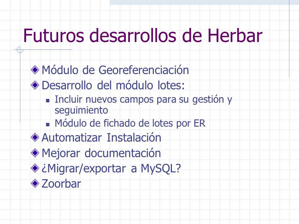Futuros desarrollos de Herbar Módulo de Georeferenciación Desarrollo del módulo lotes: Incluir nuevos campos para su gestión y seguimiento Módulo de fichado de lotes por ER Automatizar Instalación Mejorar documentación ¿Migrar/exportar a MySQL.