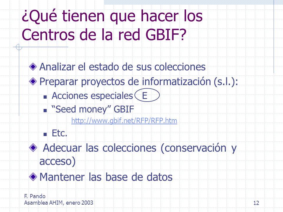 F. Pando Asamblea AHIM, enero 200312 Analizar el estado de sus colecciones Preparar proyectos de informatización (s.l.): Acciones especiales E Seed mo