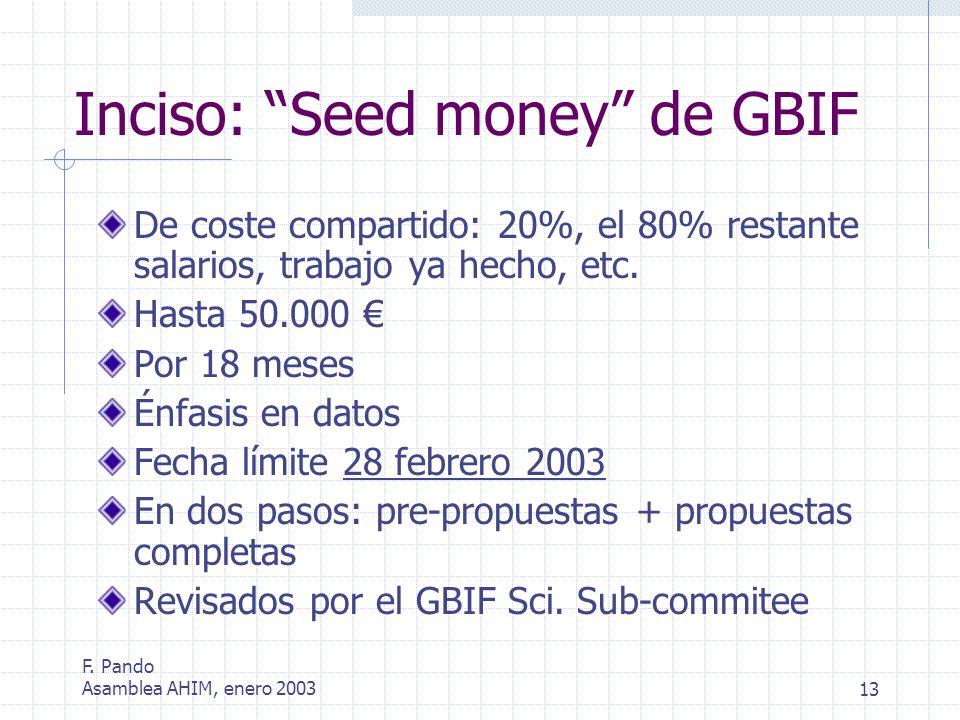 F. Pando Asamblea AHIM, enero 200313 Inciso: Seed money de GBIF De coste compartido: 20%, el 80% restante salarios, trabajo ya hecho, etc. Hasta 50.00