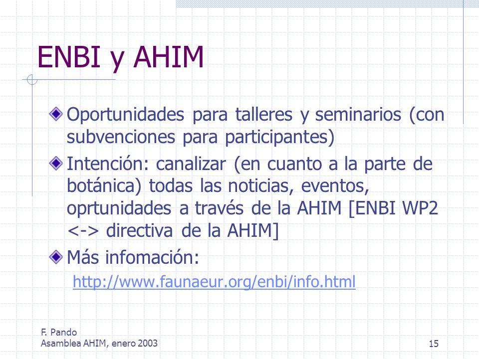 F. Pando Asamblea AHIM, enero 200315 ENBI y AHIM Oportunidades para talleres y seminarios (con subvenciones para participantes) Intención: canalizar (