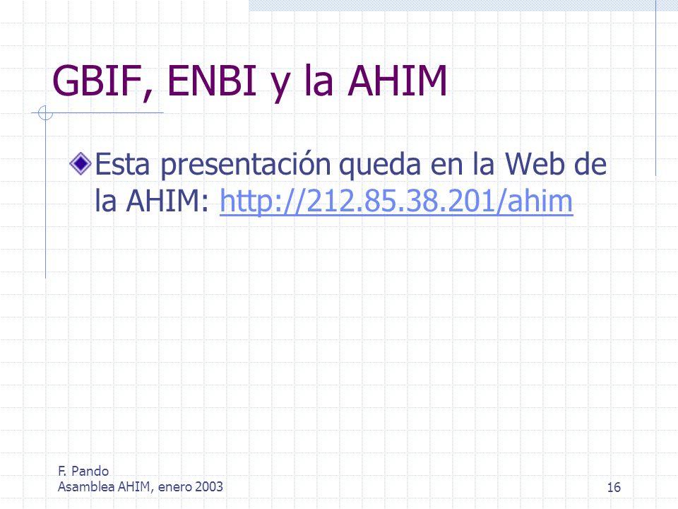 F. Pando Asamblea AHIM, enero 200316 GBIF, ENBI y la AHIM Esta presentación queda en la Web de la AHIM: http://212.85.38.201/ahimhttp://212.85.38.201/