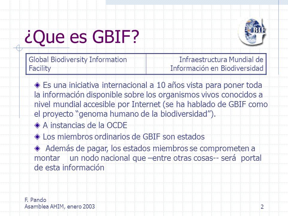 F. Pando Asamblea AHIM, enero 20032 ¿Que es GBIF.