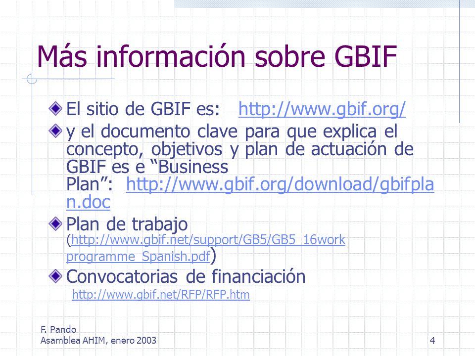 F. Pando Asamblea AHIM, enero 20034 Más información sobre GBIF El sitio de GBIF es: http://www.gbif.org/http://www.gbif.org/ y el documento clave para