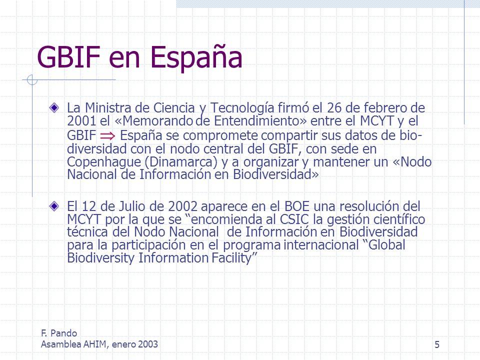 F. Pando Asamblea AHIM, enero 20035 GBIF en España La Ministra de Ciencia y Tecnología firmó el 26 de febrero de 2001 el «Memorando de Entendimiento»