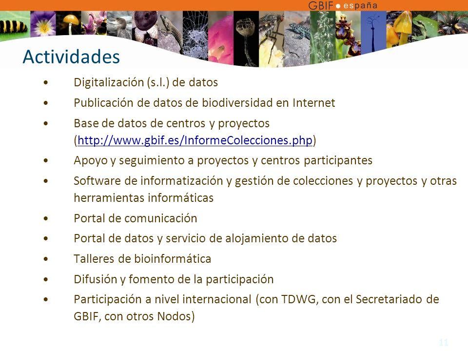11 Digitalización (s.l.) de datos Publicación de datos de biodiversidad en Internet Base de datos de centros y proyectos (http://www.gbif.es/InformeColecciones.php)http://www.gbif.es/InformeColecciones.php Apoyo y seguimiento a proyectos y centros participantes Software de informatización y gestión de colecciones y proyectos y otras herramientas informáticas Portal de comunicación Portal de datos y servicio de alojamiento de datos Talleres de bioinformática Difusión y fomento de la participación Participación a nivel internacional (con TDWG, con el Secretariado de GBIF, con otros Nodos) Actividades