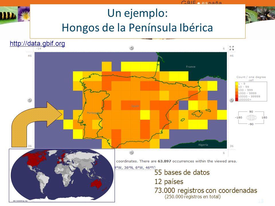 13 Un ejemplo: Hongos de la Península Ibérica 55 bases de datos 12 países 73.000 registros con coordenadas (250.000 registros en total) http://data.gbif.org