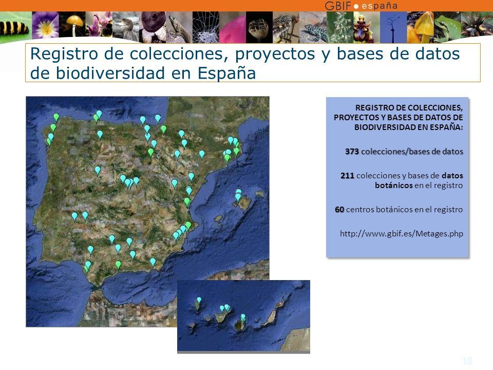 18 REGISTRO DE COLECCIONES, PROYECTOS Y BASES DE DATOS DE BIODIVERSIDAD EN ESPAÑA: 373 colecciones/bases de datos 211 211 colecciones y bases de datos botánicos en el registro 60 60 centros botánicos en el registro http://www.gbif.es/Metages.php REGISTRO DE COLECCIONES, PROYECTOS Y BASES DE DATOS DE BIODIVERSIDAD EN ESPAÑA: 373 colecciones/bases de datos 211 211 colecciones y bases de datos botánicos en el registro 60 60 centros botánicos en el registro http://www.gbif.es/Metages.php Registro de colecciones, proyectos y bases de datos de biodiversidad en España