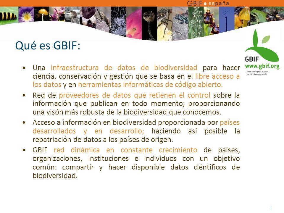 3 Qué es GBIF: Una infraestructura de datos de biodiversidad para hacer ciencia, conservación y gestión que se basa en el libre acceso a los datos y en herramientas informáticas de código abierto.