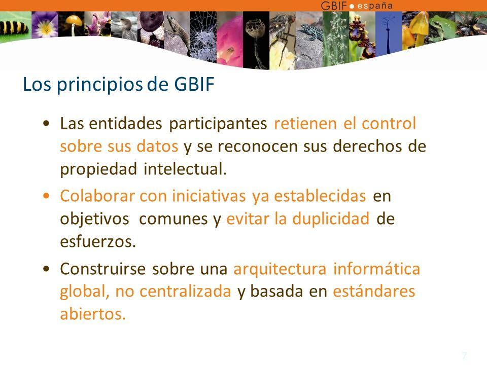 7 Los principios de GBIF Las entidades participantes retienen el control sobre sus datos y se reconocen sus derechos de propiedad intelectual.