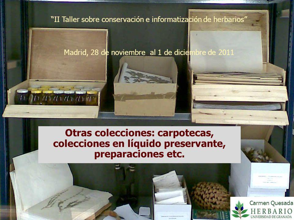 II Taller sobre conservación e informatización de herbarios Madrid, 28 de noviembre al 1 de diciembre de 2011 Otras colecciones: carpotecas, coleccion