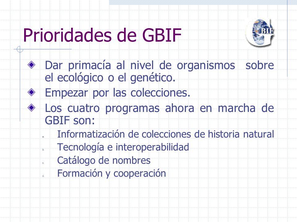 Prioridades de GBIF Dar primacía al nivel de organismos sobre el ecológico o el genético.