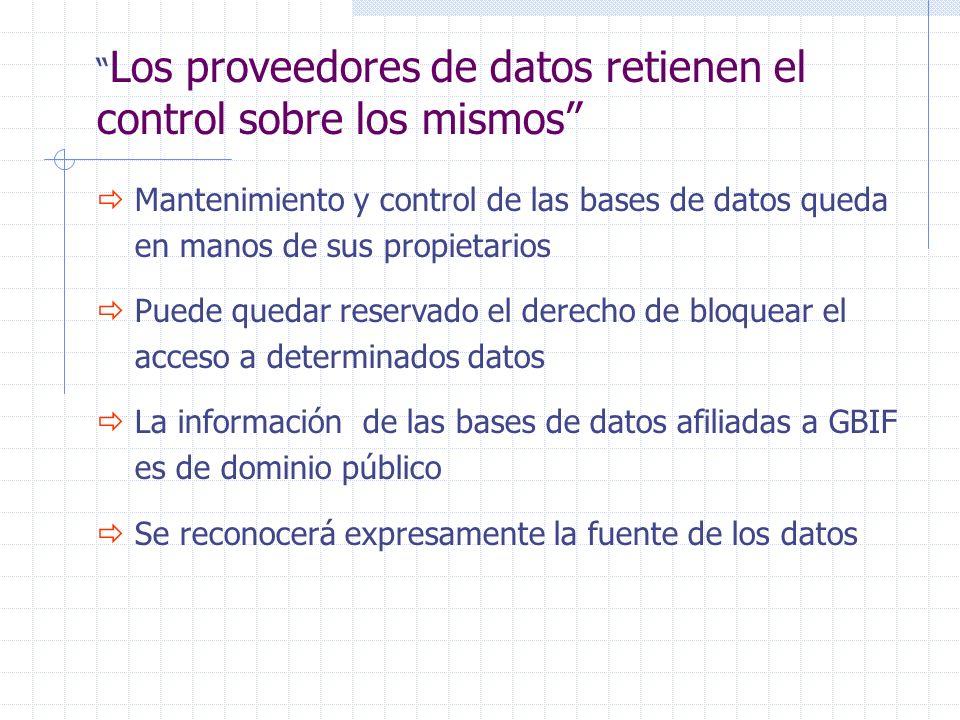 Mantenimiento y control de las bases de datos queda en manos de sus propietarios Puede quedar reservado el derecho de bloquear el acceso a determinados datos La información de las bases de datos afiliadas a GBIF es de dominio público Se reconocerá expresamente la fuente de los datos Los proveedores de datos retienen el control sobre los mismos