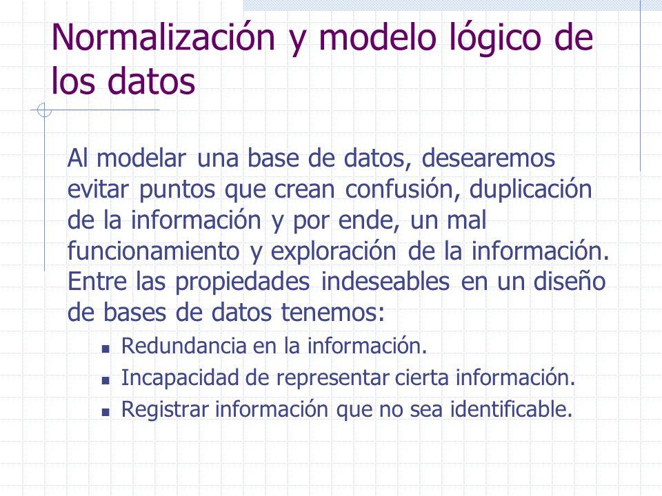 Normalización y modelo lógico de los datos Al modelar una base de datos, desearemos evitar puntos que crean confusión, duplicación de la información y por ende, un mal funcionamiento y exploración de la información.