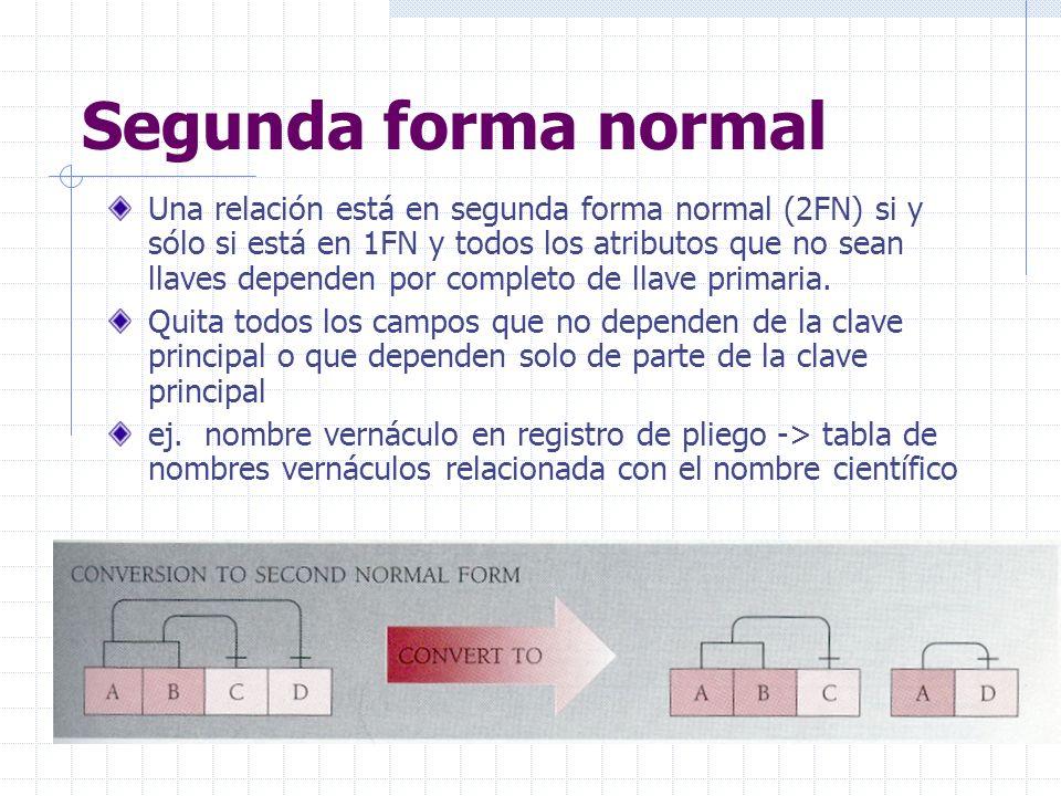 Segunda forma normal Una relación está en segunda forma normal (2FN) si y sólo si está en 1FN y todos los atributos que no sean llaves dependen por completo de llave primaria.